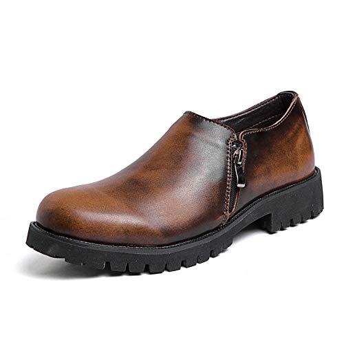 CAIFENG Zapatos de trabajo clásicos para hombres de cuero genuino vestido de boda mocasines cremallera antideslizante tacón bajo sin cordones punta redonda (color: marrón, talla: 38 EU)