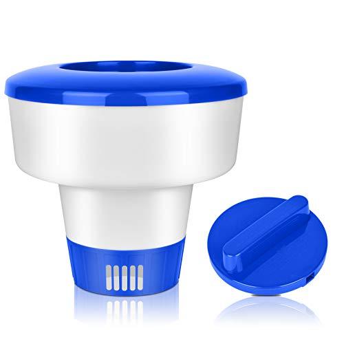 KATELUO 5 Inch Dispensador Químico,Dispensador Cloro Flotante,Dispensador Químico Piscina para Piscina/Acuático/SPA/Fuentes (8 Inch)