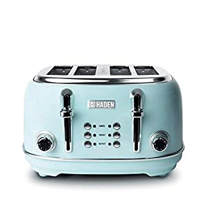 Haden 194244 Heritage 4 Slice Toaster, Turquoise, Cancel, Re-Heat, Defrost Functions, Variable Browning Control, 1370-1630W
