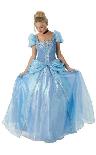 Princesas Disney - Disfraz de Cenicienta Super Premium para mujer, talla M adulto (Rubie's 810247-M)