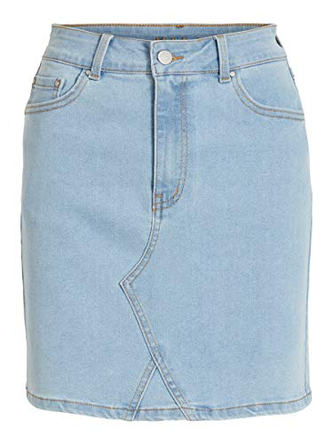 Vila Clothes Vicassie Hwre Short Skirt LBD Falda, Light Blue Denim, 38 para Mujer