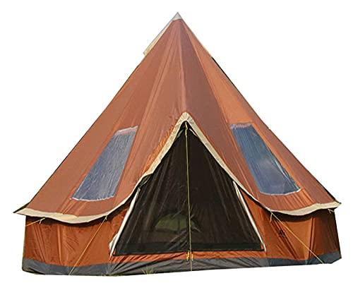 GKPLY 4M Pyramid Round Bell Zelt Leinwand Jurtenzelt, 210D Oxford India Zelt, wasserdichtes Gartenzelt, tragbares Sichtschutzzelt für 5-8 Personen Familiencamping Outdoor...