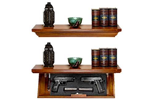 """Tactical Traps Patriot 35S Compact Gun Shelf with Trap Door   Compact Firearm Storage with RFID Lock   Easy Installation   Secure Hidden Compartment   22 ½ """" X 10 ¼"""" X 4"""" Dark Walnut"""