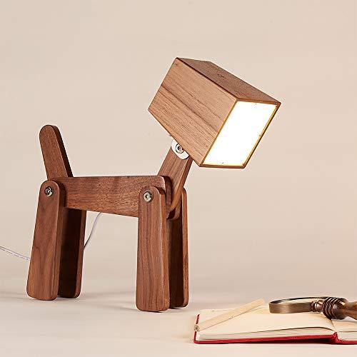 HROOME - Lampada da comodino regolabile regolabile a forma di cane, 6 W, per camera da letto, Legno, Colore: noce., medium