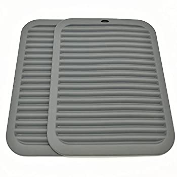 Silicone Trivets Smithcraft Premium 9 X12  Big for Hot Dishes,Pots and Pans - Waterproof trivet mat  Set of 2  Color Gray