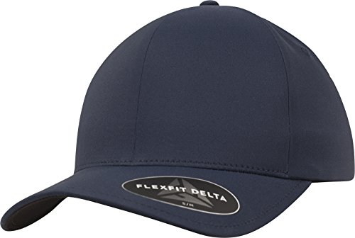 Flexfit Delta Baseball Cap, Unisex Basecap aus Polyester für Damen und Herren, ohne Naht, wasserabweisend, navy, S/M