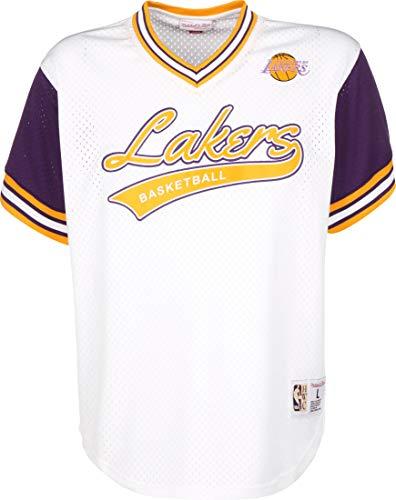 Mitchell & Ness NBA Top Prospect LA Lakers - Camiseta con cuello de pico, color blanco y morado Blanco XXL