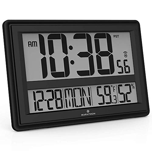 Marathon Jumbo Atomic Wall Clock with Large Display, Date, Indoor Temperature and Humidity - Batteries Included - CL030056BK (Black)