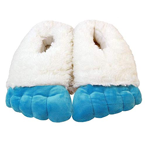 WISHPETS Stuffed Animal Slippers - Soft Plush Toy Slim Slippers for Kids and Adults (Medium (Kids 4-7, Womens 5.5-9.5, Mens 6-8.5), Abominable Snowman Feet)