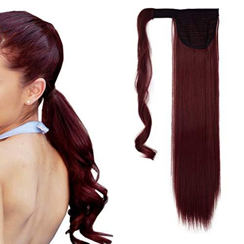 Extensión de cola de caballo recta larga iLUU Clip envolvente en extensión de cabello 24' Cola de caballo sintética 100g Extensiones de cabello rojo vino #BUG