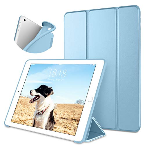 DTTO iPad 10.2 Case,2020 iPad 8th Generation Case / 2019 iPad 7th Generation Case, Ultra Lightweight Slim Protective Soft Back Cover Smart Trifold Stand [Auto Sleep/Wake], Sky Blue