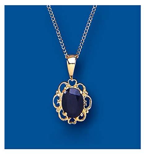 London Jewellery Quarter Zafiro Colgante Corazón Oro Amarillo Collar Contraste 18' Cadena Británico Hecho