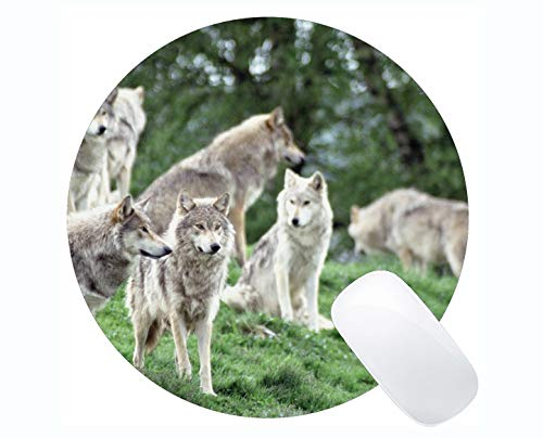Yanteng Round Mouse Pad Non-Skid Natural Rubber Rectangle Round Mouse Pads,Animal Wolf Art Mousepad Nonslip Rubber Backing