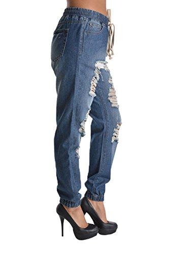 Women's Distressed Hole Cutout Denim Skinny Jogger Jeans 5