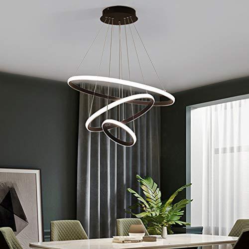 DAXGD Lampada a sospensione a soffitto Cerchio nero 3 Anelli, 76W Plafoniere a LED in alluminio Diametro 60cm, Lampadario moderno a LED 6000K