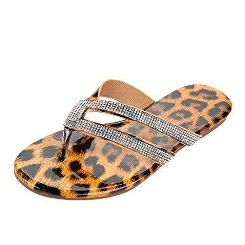 HDUFGJ Damen Badesandale Hausschuhe Sommer Leopard Slipper Flachs Strand Pantoffeln36 EU(Gelb)