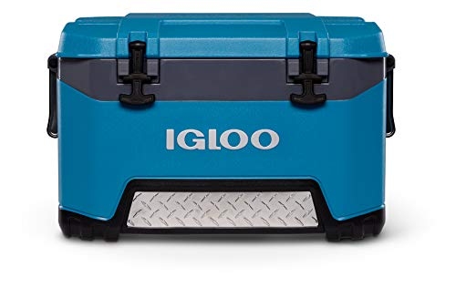 Igloo BMX 52 Quart Cooler with Cool Riser Technology, Fish Ruler, and Tie-Down Points - 16.34 Pounds - Blue