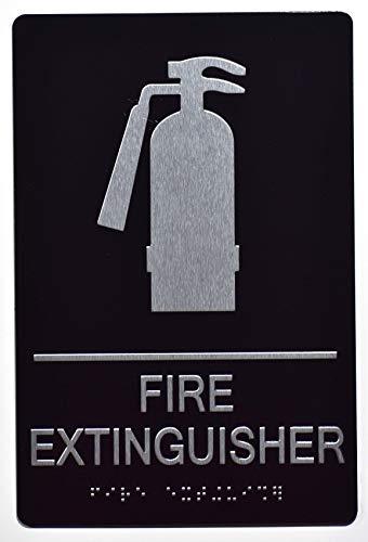 FIRE Extinguisher Sign Black-ADA Sign (Aluminium, Black/Silver,Size 6x9) The Sensation line