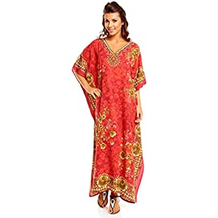 Customer reviews New Ladies Plus Size Maxi Tribal Ethnic Print Tunic Kaftan Evening Party, Red, Size 24-28:Amedama