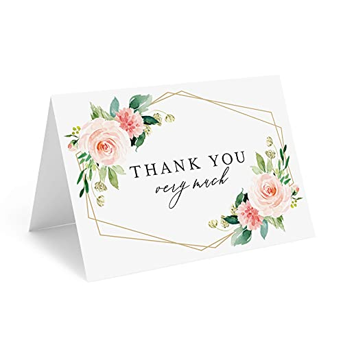 Bliss Collections Thank You Cards with Envelopes, Pack of 25, 4x6 Folded, Tented, Bulk, Geometric Floral Perfect for Wedding, Bridal Shower, Baby Shower, Birthday, Funeral - A Great Way to Say Thanks