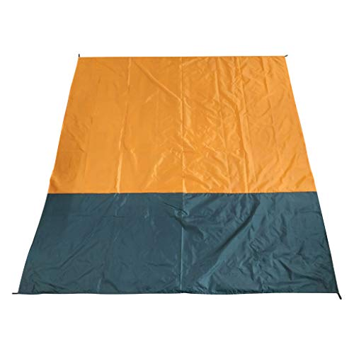Sietore Sandfree Beach Blanket - Huge Ground Cover 210 x200cm for 7 Adults - Best Sand Proof Picnic Mat for Travel, Camping, Hiking and Music Festivals - Durable Tarp with Corner Pockets (Orange)