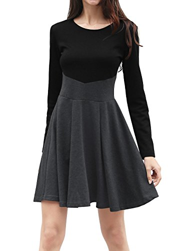 Allegra K Women's Long Sleeves Color Block Above Knee A Line Dress M Grey