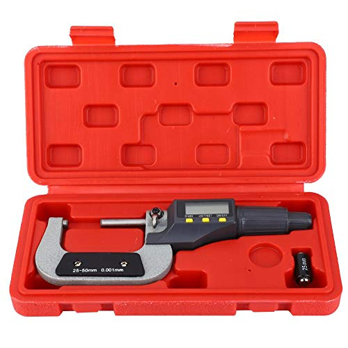 Micrómetro digital 0.001 mm Calibrador de calibrador electrónico Micrómetro exterior para medición de fuerza constante(25-50mm)