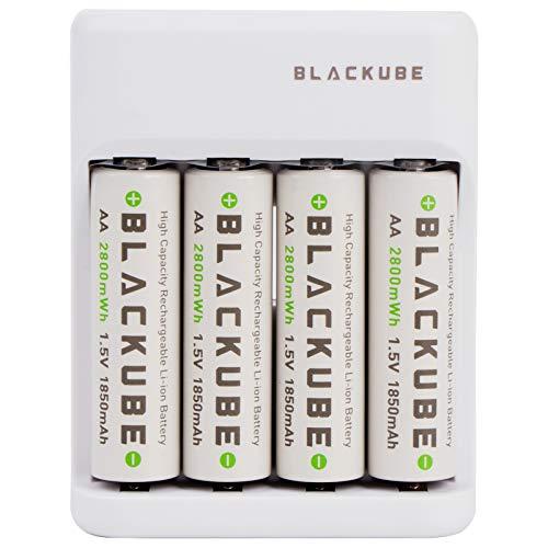 Blackube Cargador de Pilas AA Battery Litio 2775 mWh-1.5V,1850mAh,1000 Cycles -Type C Charge-Tiempo de Carga 2 Horas-Sin Efecto Memoria-4*AA with Charger