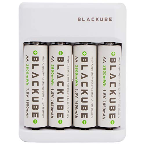 Blackube - 4 piles rechargeables AA lithium + chargeur