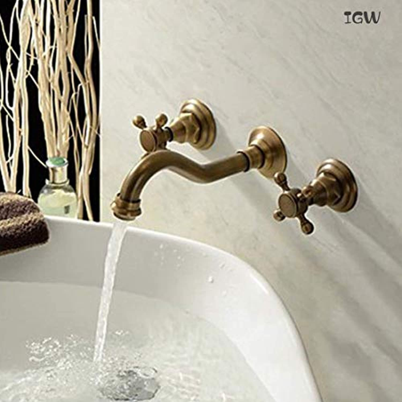 Kreuzgriff Bad Wasserhahn, Doppelgriffe Wandbefestigte Badezimmer Waschbecken und Ceramic Lffel, Hot und Cold Water Mixing Faucet, Antique Kupfer Finish