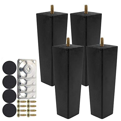 4PCS Patas De Muebles De Madera Maciza M8 Patas de Sofá de Madera para Placas de Montaje con Tornillos para Armario/Cama/Sillón/Sofá (15cm Negro)