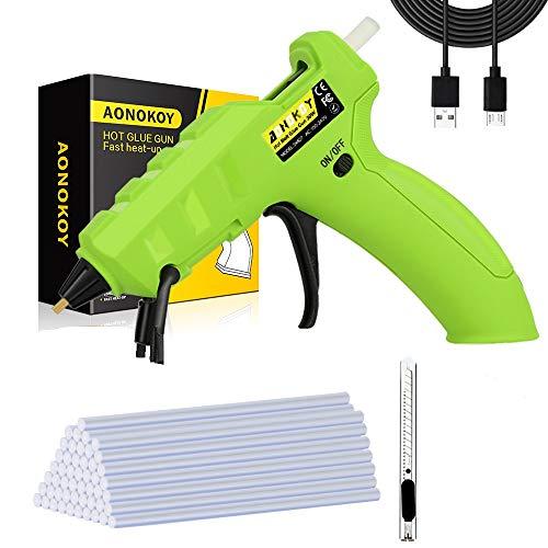 30W schnurlose Heißklebepistole abnehmbar eingebautem Akku für DIY Handwerk reparieren/ 30 Klebestifte/USB-Datenkabel/6 Verbrühungshemmend Antihaft-Fingerhandschuhe/ Universalmesser/ Silikonunterlage