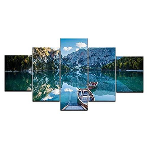 5 Piezas Cuadros Decoracion Modernos Paisaje Barco Montaña Nieve Decoracion Hogar Vista De Impresión En Lienzo Salón Apartamento Listo Para Colgar 150 X 80Cm