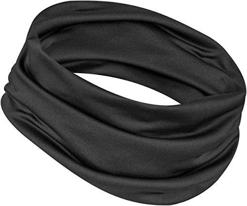 12-in-1 Cooling Headwear - UPF 30 Versatile Outdoors & Daily Headwear - 12 Ways to Wear including Headband, Neck Wrap, Bandana, Face Mask, Helmet Liner. Performance Moisture Wicking (Black v2)