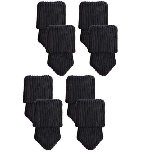 Mogoko 8 x Stuhlbeinsocke Stuhlsocken Möbel Socken Anti-Rutsch Wollsocken Hocker Tabellen Cotton Stuhlkappen Stuhl-Fußboden-Schutz Floor Protector (schwarz)