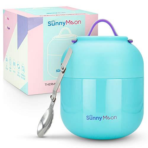 SunnyMoon® Thermobehälter für Essen -Edelstahl-Thermobecher für Suppe, Brei, Porridge - Auslaufsicher, hält 12 Stunden warm/kalt - Warmhaltebehälter mit Löffel, ideal für unterwegs - Blau-500 ml