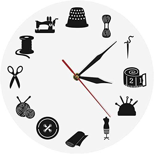 Reloj de pared Blanco Costura Decoración de la habitación Reloj de pared...