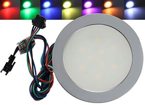 LED Einbauleuchte RGB 0,5Watt Flach I geeignet für Parkett und Laminat I 12Volt I RGB Rot Grün Blau I Matte Front I Silber