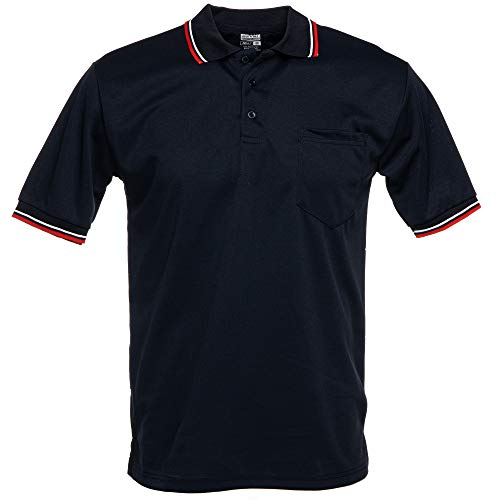 Murray Sporting Goods Short Sleeve Polo Baseball and Softball Umpire Shirt - Sized for Chest Protector (Navy Blue, X-Large)