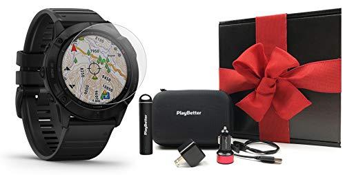Garmin Fenix 6X Pro (Black with Black Band) Gift Box Bundle | +HD Screen Protectors, PlayBetter Portable...