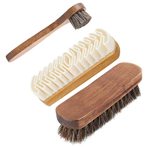 Conjunto de 3 peças de escovas de sapato de madeira com cabo longo de polimento Escova de polimento de borracha bruta ferramenta de limpeza de crina de cavalo para botas de camurça e pano de couro da Exceart