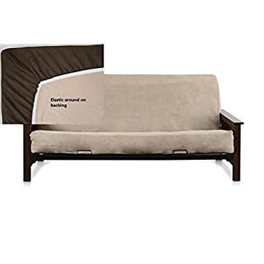 Classic Micro Suede Easy Fit Fitted Full Size Futon Cover (Beige)