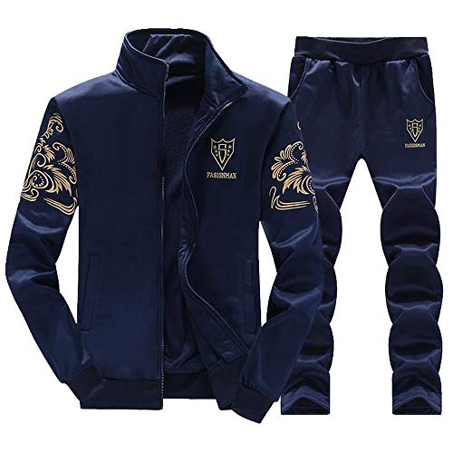 MAYOGO Herren Strickjacke Trainingsanzug Basic Laufen Sportjacke-und-Hosen Sets Fleece Trainingsjacke Übergangsjacke Softshelljacke Sweatjacke Sets aus Baumwolle (Blue, L)