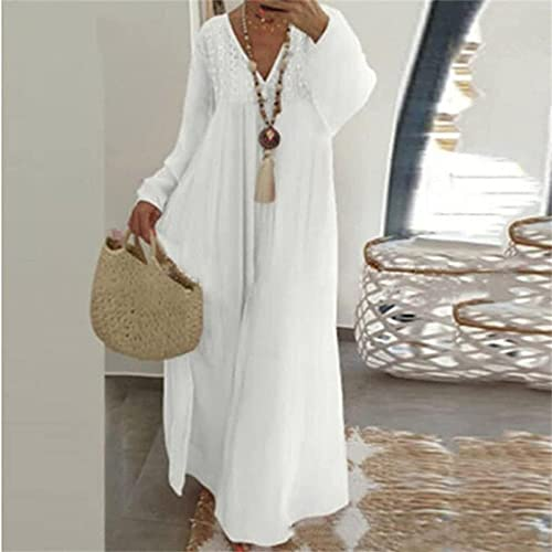 HEHUO Damen Sexy V-Ausschnitt Blumen Langarm Maxi-Kleid, Frauen Langarm Baumwolle Loose Long Maxi Kaftan V-Ausschnitt BöHmisches Kleid,5XL Weiß (NAUXIU)