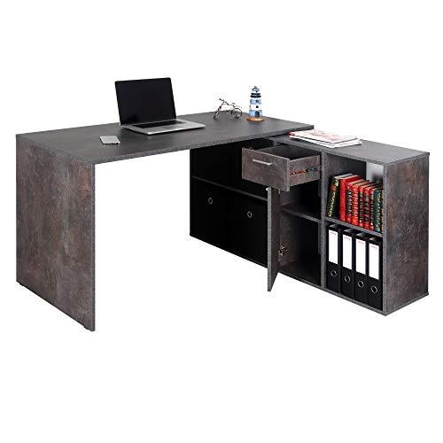 RICOO Computertisch Gaming Schreibtisch - (WM081-BG) Beton-Grau Gamer Galaxy-Optik Winkelkombination Arbeitstisch Bürotisch Eckschreibtisch Schrank Lowboard