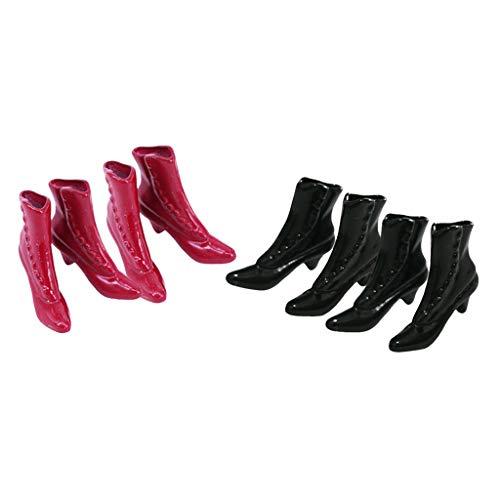 sharprepublic 4 Pares 1/12 Muñeca de Moda Mujeres Figuras Zapatos Botas de Plástico Vestido Accesorios Niña Regalos