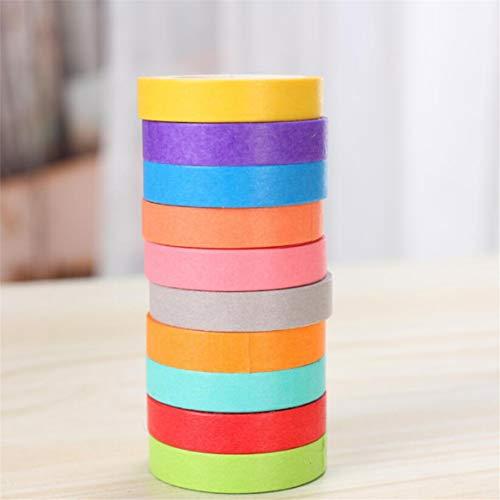 LSSJJ 10 Rollen Bonbonfarben Washi Tape Set, dekoratives Tape Making Scrapbooking Tape für DIY Basteln und Geschenkverpackung Festivals Dekoration Office Party Supplies