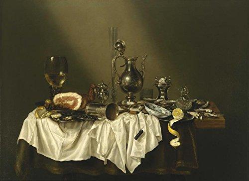 Het Museum Outlet - Stilleven met ham en tinnen - 1656 - Poster Print Online (A3 Poster)