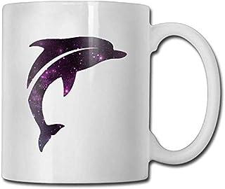 Tasse à café en céramique unique tasse à thé blanc 11 oz pourpre Galaxy sautant Animal mignon dauphin spécial. Anniversair...