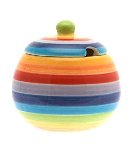 Deeprose Fashions Nuovo Regalo Arcobaleno Anelli di Colore in Ceramica Ciotola di Zucchero/Jar